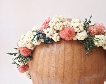 Lovesong Flower Crown // Ivory-Dusty Rose Halo // Flower Crown
