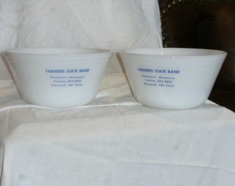 Vintage Fireking Milk Glass Advertising Bowls