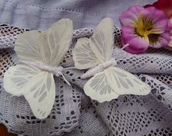 Pure white matt feather butterfly hairclips