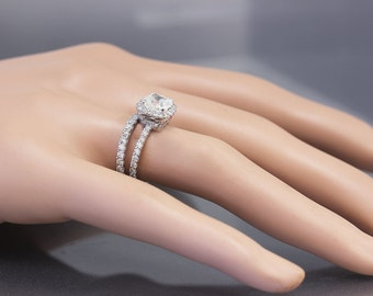 14k White Gold Cushion Cut Moissanite and Diamond Engagement Ring And Band 3.00ct