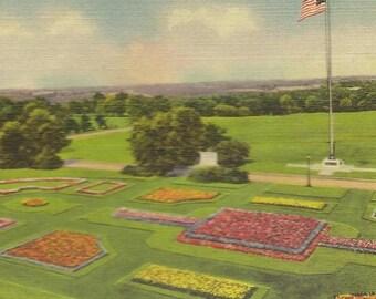 Floral Gardens Swope Park KANSAS CITY Missouri Vintage Linen Postcard 1939