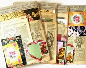 Floribunda Florals paper-crafting kit with VINTAGE BOOK PAGES and coordinating extras