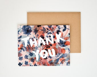 Thank You Winter Floral Greeting Card