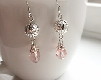Pink Filigree Dangle Earrings