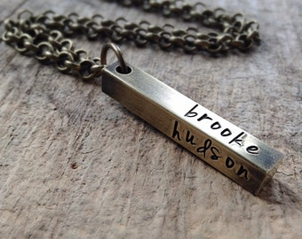 Men's Square Bar Necklace, Personalized Jewelry, Hand Stamped Bar Necklace, Name Necklace, Bohemian Necklace, Bohemian Jewelry