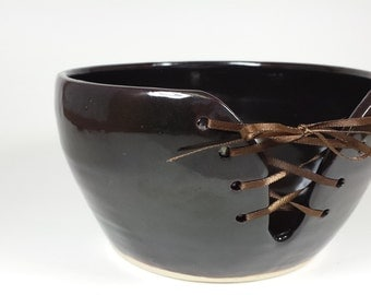 Chocolate brown laced yarn bowl.