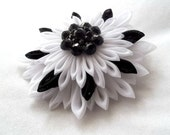 Black and White Kanzashi Flower Elegant Formal Hair Accessory Prom or Wedding