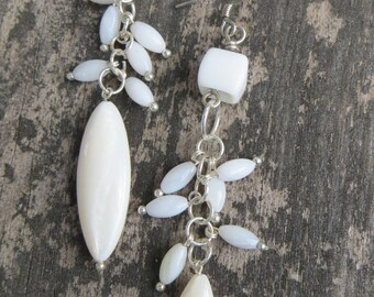 Long White Dangly Pierced Handmade Earrings Silvertone