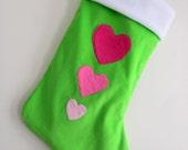 Hearts Lime Green Modern Christmas Stocking - Personalized Christmas Stocking - Girls Stocking