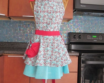 Turquoise Red Flirty Apron, Flirty Retro Inspired Apron, Womens Apron, Red Turquoise Apron, Retro Inspired Red Turquoise Layered Apron