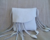 white leather handbag, hip bag, belt bag with leaf fringe by Tuscada. Ready to ship.