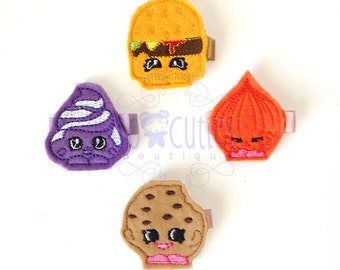 Shop Food Felt embroidery hair clip, baby hair clip, girl hair clip, barrette, felt hair clip