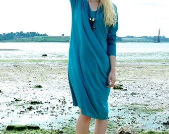 Teal Silky Loose British Made Day Dress