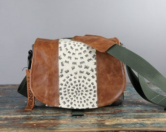 Leather Camera Bag New Satchel  -   Dandelion Art Leather Medium DSLR  PRE-ORDER