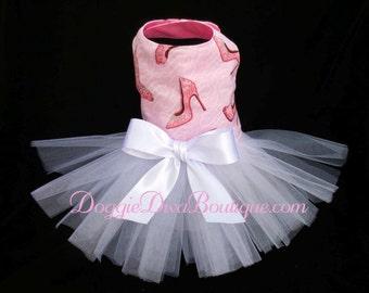 Sample Sale, Dog Tutu Dress, Pink Glitter Shoes Small