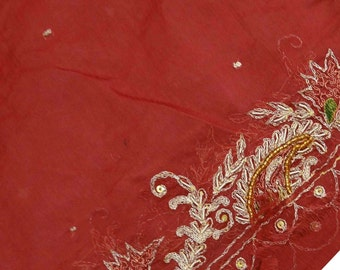 Vintage Shawl/Stole. Regency Style.  Poppy Red Chiffon, gilt embroidery and beading.