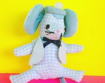 "Mr Mouse Vintage Stuffed Animal ""Dolls & Things"" San Francisco - Adorable Gingham - Handmade"