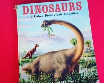 Dinosaurs and other Prehistoric Reptiles 1983 Oversized Hardcover Vintage Children's Book