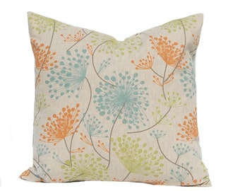 Floral Pillow Covers, Daisy Pillow, Linen Pillows, Throw Pillow Covers, Decorative Pillow Covers, Orange Pillows, Orange Aqua, Sofa Pillows
