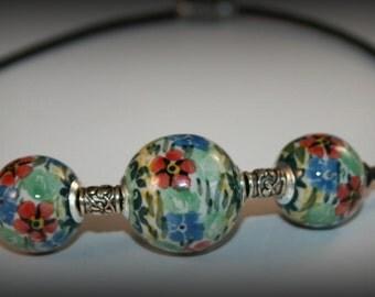 Leather Trio Necklace featuring Polish stoneware