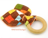 All Natural Wood Baby Teething Ring- Brown Orange Turquoise Remix Argyle Ann Kelle - Great Gender Neutral, Shower Gift