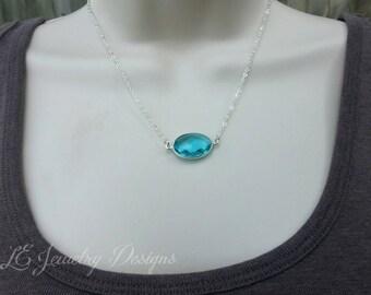 Chalcedony Necklace - blue chalcedony, quartz, gemstone necklace, green chalcedony