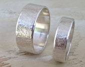 Sterling silver wedding band set with raw silk hammered texture-His and Hers