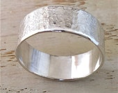 Sterling silver wide band, men's band with raw silk hammered texture
