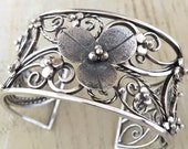 Sterling Silver one of a kind filigree cuff bracelet with flowers SALE 20% OFF