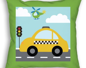 """Things That Go Vroom Theme Kids 18"""" Accent/Throw Pillow Boys Trucks Cars Transportation Taxi Cab Room Decor Accessories by PICKLEBERRY KIDS"""