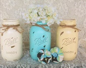 3 Robins Egg Blue,Vintage White and Cream Quart Distressed Mason Jars