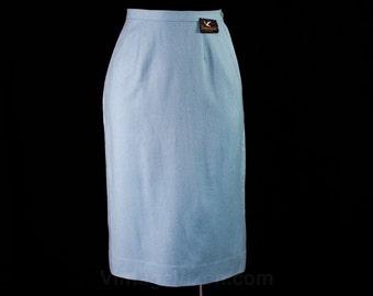 Size 2 1950s Powder Blue Pencil Skirt - XS Small - Light Pastel Office Skirt - 50s 60s Tailored Secretary Style - Waist 24 - NWT -45023-2