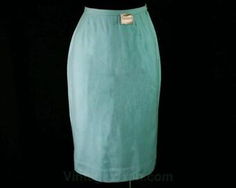 Size 2 Pencil Skirt - 1960s Sky Blue Wool - XS - Pastel Powder Office Skirt - Tailored - 50s - 60s - Secretary Style - Waist 24 - 45024-3