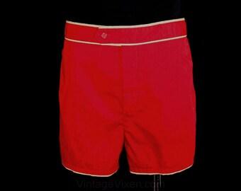 Men's Medium Shorts - Preppie 80s Maroon Red Mens Sport Shorts - 1980s Summer Retro Beach Style - Swim Trunks - Waist 34 to 38 - 39518-1