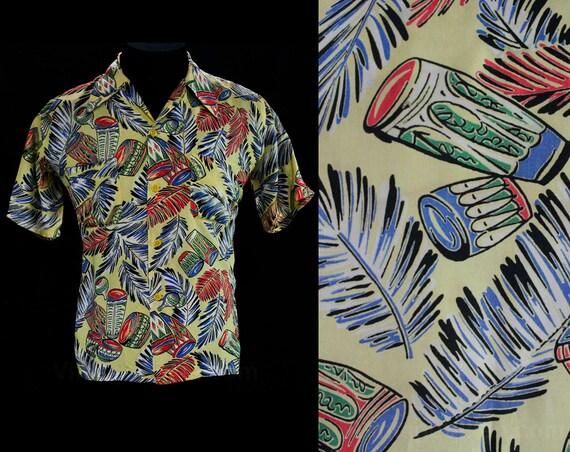 Men's Medium Hawaiian Style Shirt - 1940s Tropical Novelty Print Rayon - Mens Summer - Hawaii Style - Bongo Drums & Palms - Chest 43 - 45033
