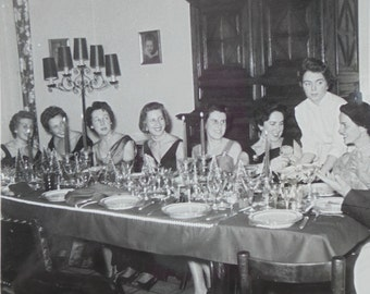 Vintage French Photo - Ladies Christmas Meal