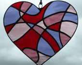 Stained Glass Abstract Love Heart in red, grape, light rose and medium rose rippling waterglass