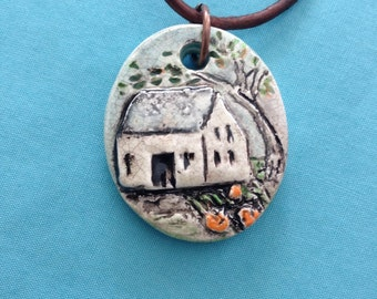 Little Cottage In The Woods Ceramic Pendant Necklace