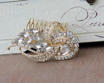 Gold Hair Comb, Crystal Bridal Hair Accessory, Crystal Wedding Hair Comb, Bridal Accessory, AMANDA GOLD
