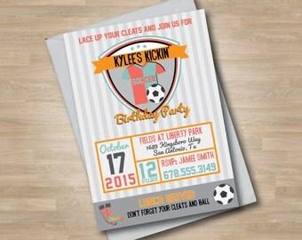 Girls Soccer/Football Birthday Invitation, Teen Girl Sports Birthday Invitation, Soccer Ball, Cleats, Soccer Jersey
