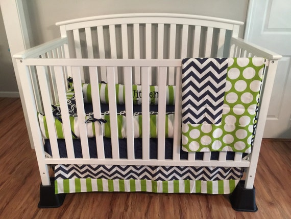 Items Similar To Navy Blue Chevron & Lime Green Polka Dots Stripes 4pc Crib Bedding Set With