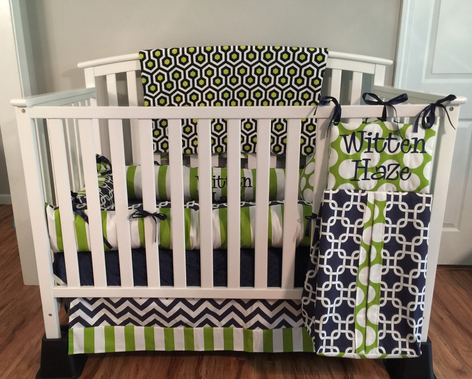 Navy Blue Chevron & Lime Green Polka Dots Stripes 6pc Crib