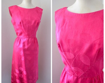 1960s Designer hot pink patterned silk cocktail dress / 60s party dress Malcolm Starr label - S