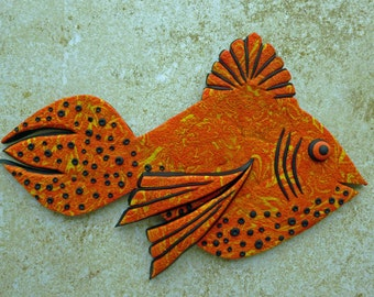 Firey Crazy Stripe 3D Large Fish Magnet or Wall Art in Orange, Black and Yellow Polymer Clay