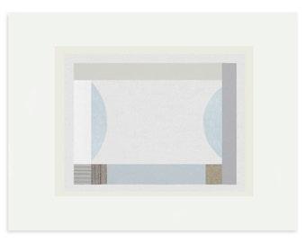 Geometric screenprint, abstract print, original, handmade art blues, greys, pastels, by Emma Lawrenson. Contemporary print