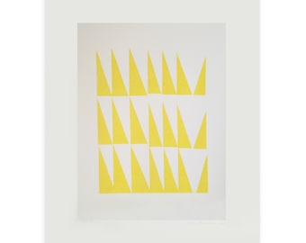 Mid century Modern handmade screenprint, original abstract large wall art, yellow triangles by Emma Lawrenson.