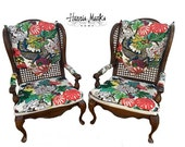 On Hold Chinoiserie Chiang Mai Dragon Chairs PRICE Is FOR PAIR Schumacher Fabric Vintage Wingback Cane Hollywood Regency Palm Beach Asian