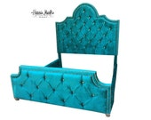 Tufted Bed Upholstered King Teal Extra Tall Headboard Crystal Rhinestone Buttons Nail Head Trim BY CUSTOM ORDER