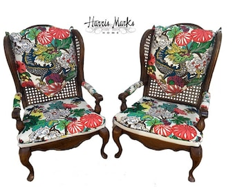 Chinoiserie Chiang Mai Dragon Chairs PRICE Is FOR PAIR Schumacher Fabric Vintage Wingback Cane Hollywood Regency Palm Beach Asian