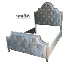 Tufted Silver Bed Velvet Rhinestone King Queen Full Twin Any Fabric or Size Custom Bed French Regency Beds Crystal Nail Head BY CUSTOM ORDER